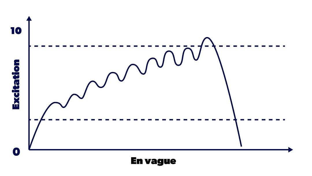 Graphique montrant l'évolution d'une excitation sexuelle sous forme de vagues au cours du temps