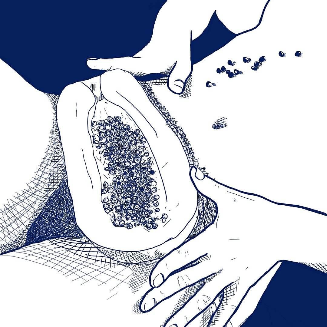 Illustration d'une femme avec une mangue sur son pubis